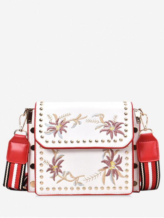 lady Stylish Floral Embroidery Crossbody Bag - WHITE