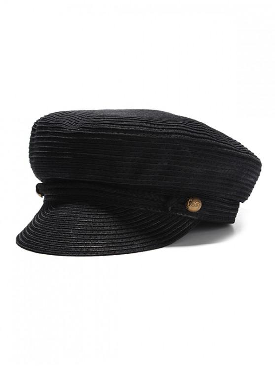 shop Button Decoration Woven Newsboy Cap - BLACK