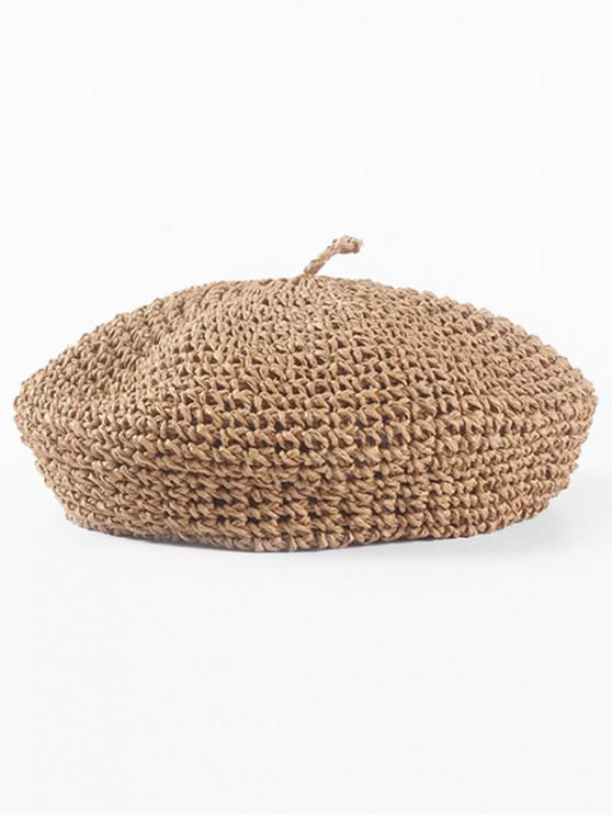 affordable Solid Color Straw Knitted Beret - CAMEL BROWN