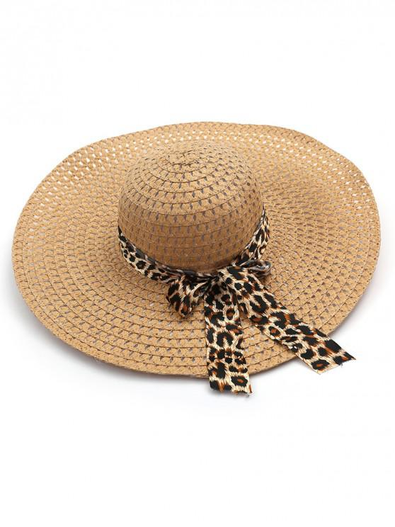 buy Beach Style Bowknot Straw Hat - KHAKI