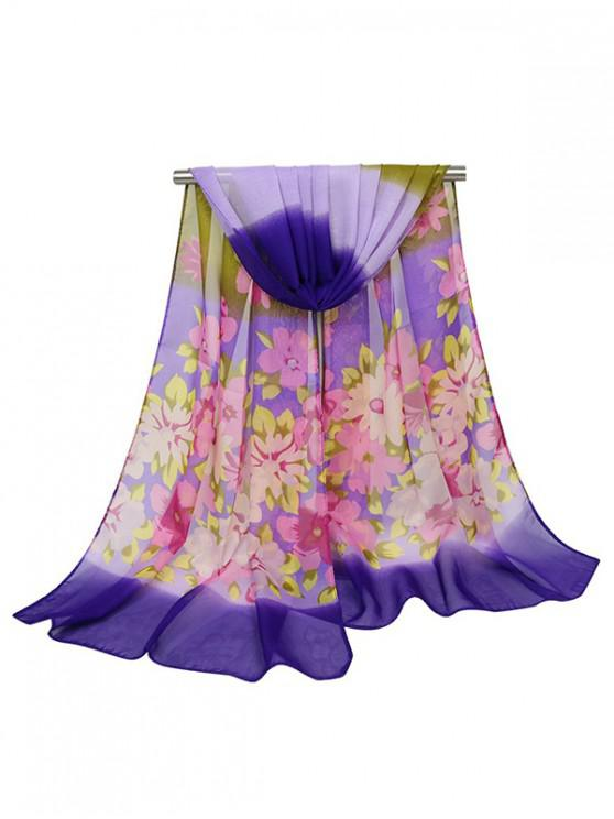 outfit Floral Design Chiffon Scarf - PURPLE