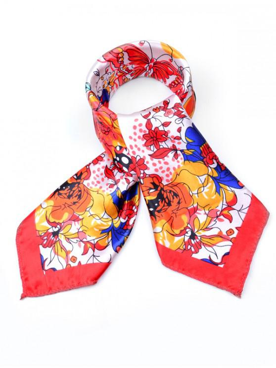 affordable Floral Printed Business Square Scarf - RED