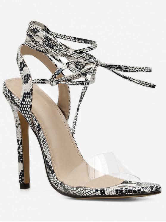 ladies Snake Ankle Wrap High Heel Sandals - SILVER EU 40