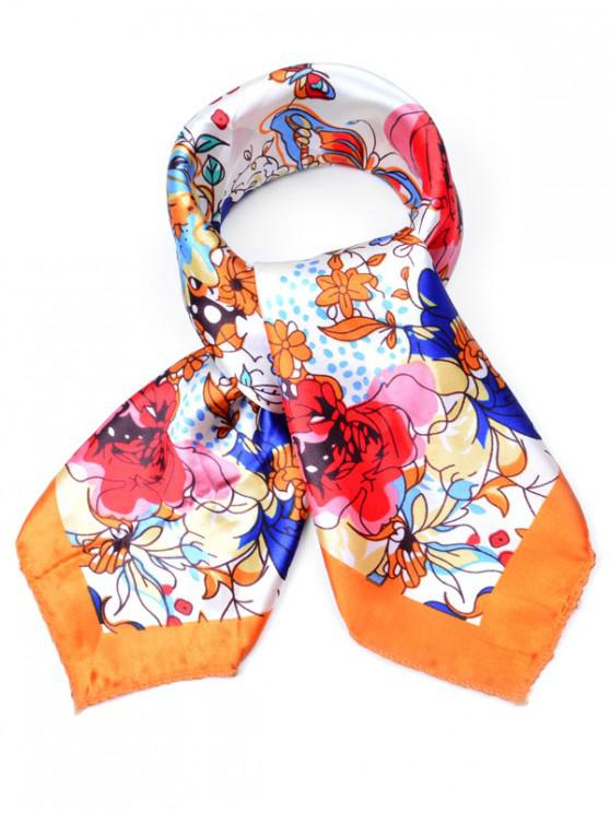 outfit Floral Printed Business Square Scarf - PUMPKIN ORANGE