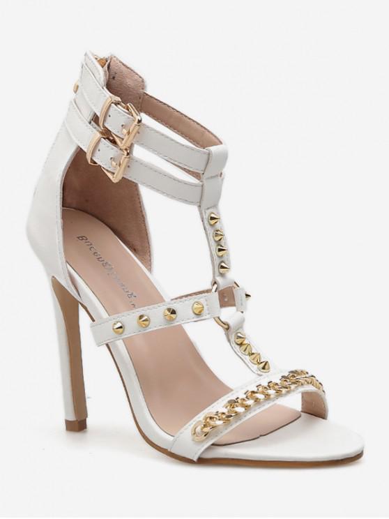 trendy T Strap Rivet High Heel Sandals - WHITE EU 39