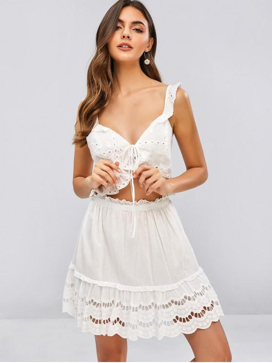 womens ZAFUL Eyelet Ruffled Crop Top and Skirt Set - WHITE S