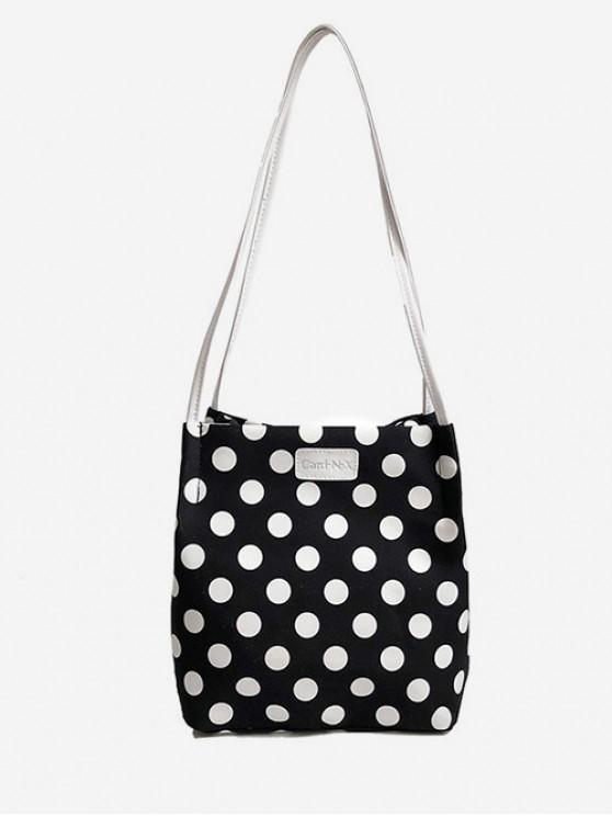 ladies Polka Dot Print Shoulder Bag - BLACK
