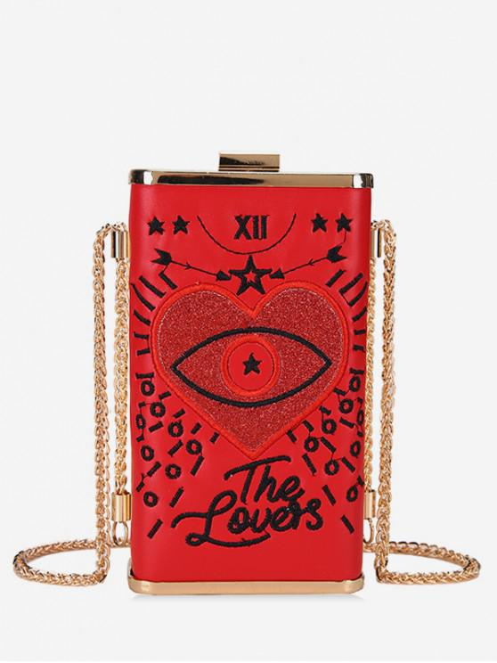 womens Heart Embroidery Crossbody Bag - RED