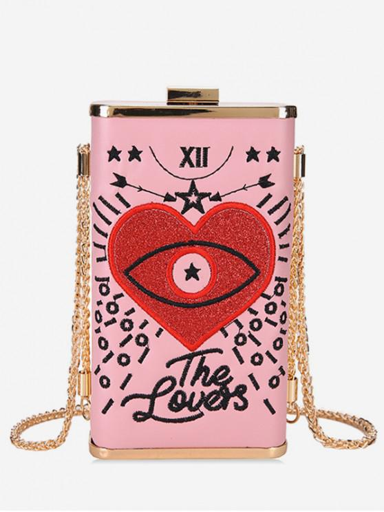 women's Heart Embroidery Crossbody Bag - PINK