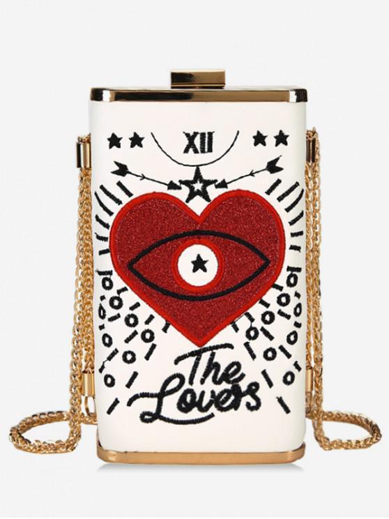 shops Heart Embroidery Crossbody Bag - WHITE