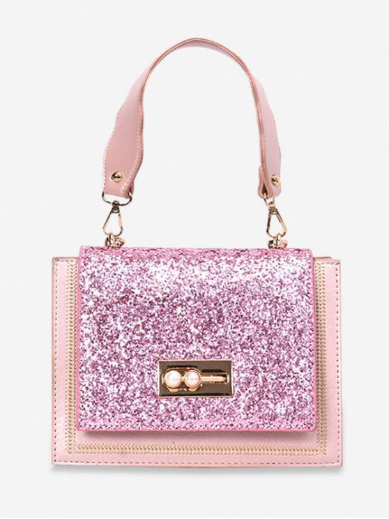 trendy Sequins Decoration Square Crossbody Bag - PINK