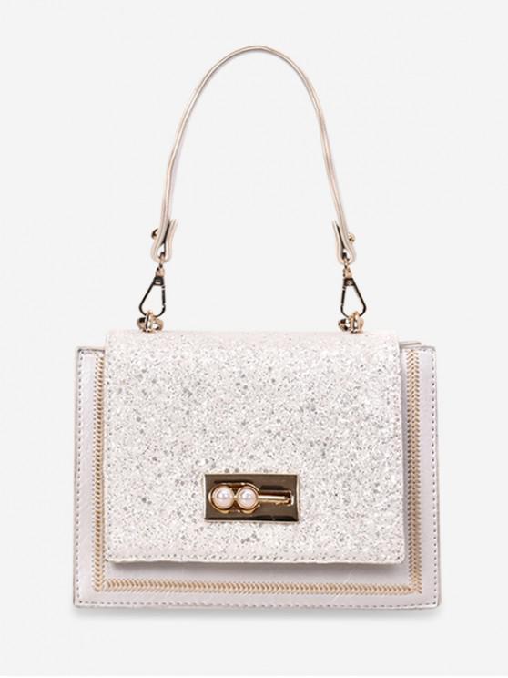 womens Sequins Decoration Square Crossbody Bag - WHITE
