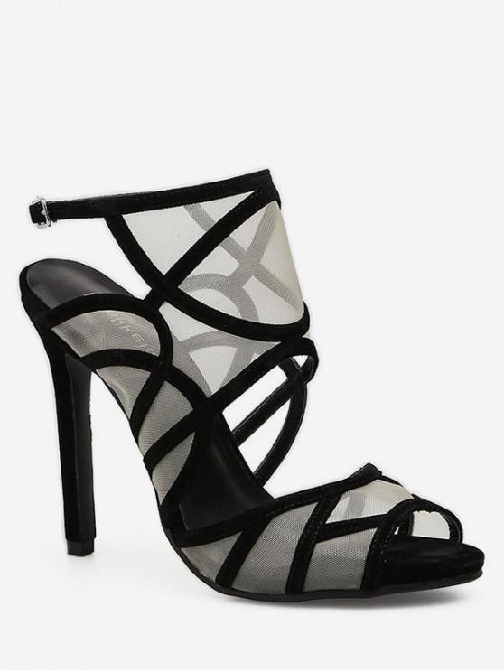 women Sheer Mesh Design High Heel Sandals - BLACK EU 38