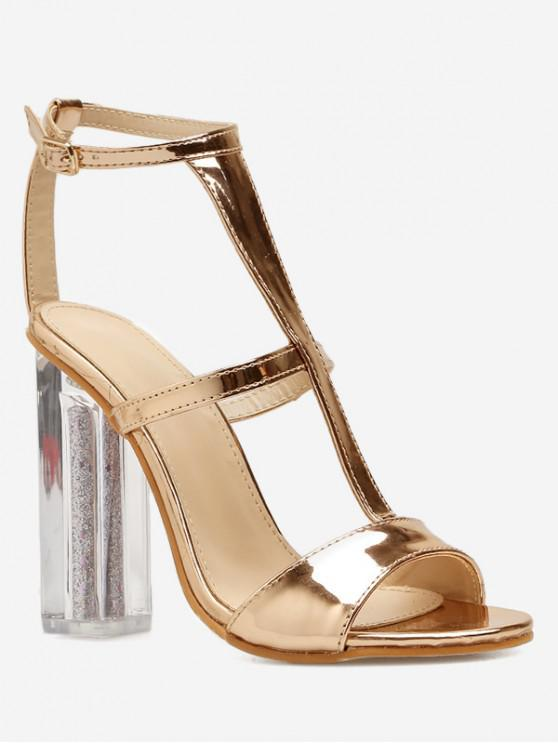 best T Strap Chunky Clear Heel Sandals - GOLD EU 37