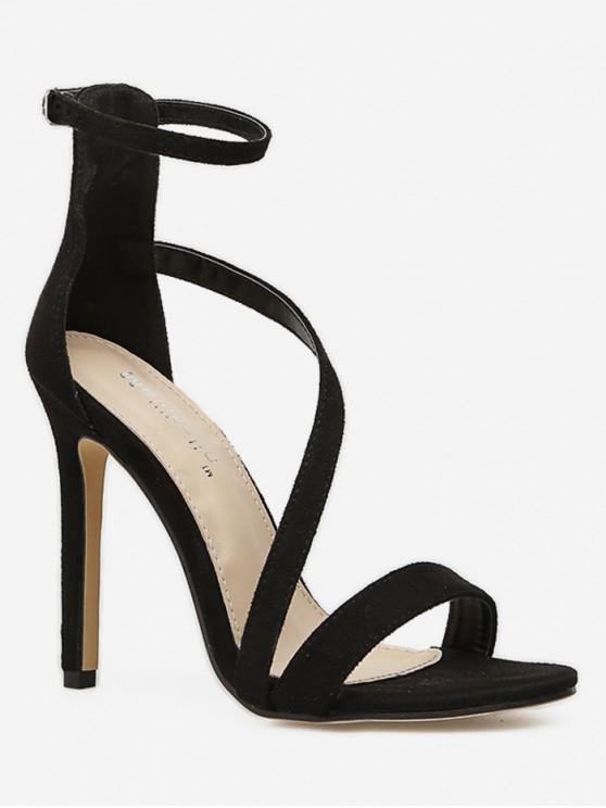 trendy Super High Heel Suede Sandals - BLACK EU 36