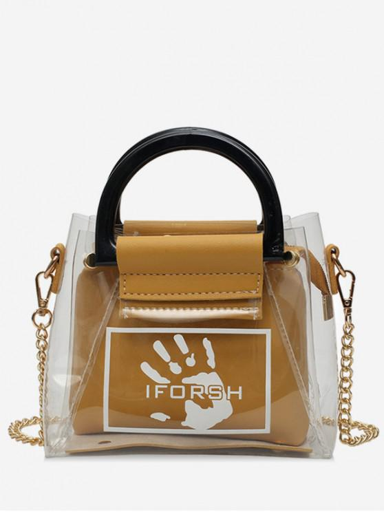 fancy Transparent Palm Print Shoulder Bag Set - YELLOW