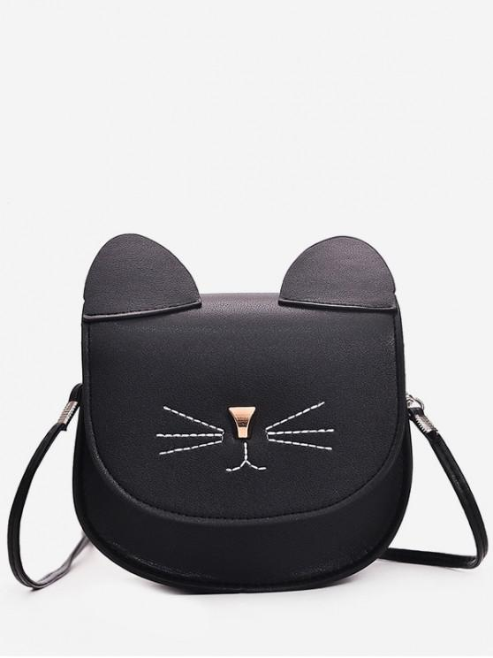 fashion Mini Cat Pattern Cash Shoulder Bag - BLACK