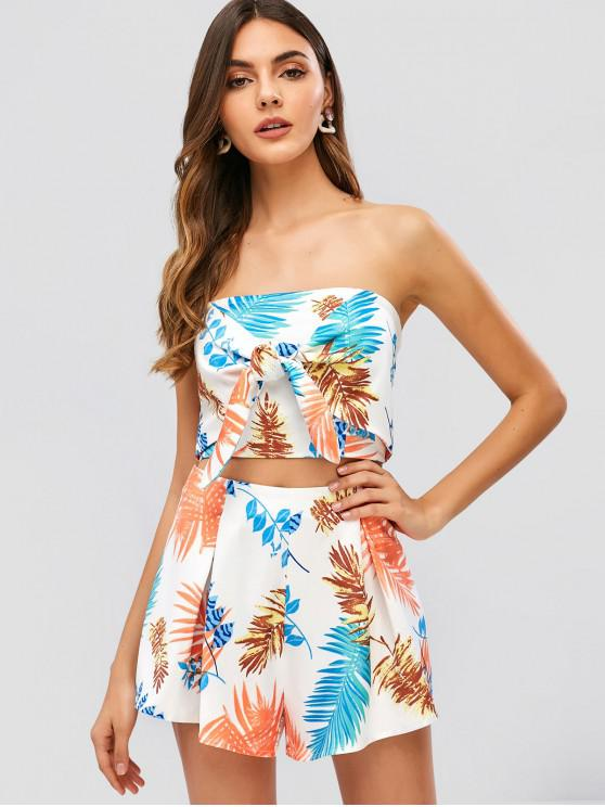 shops ZAFUL Leaves Print Bandeau Top and Shorts Set - WHITE L