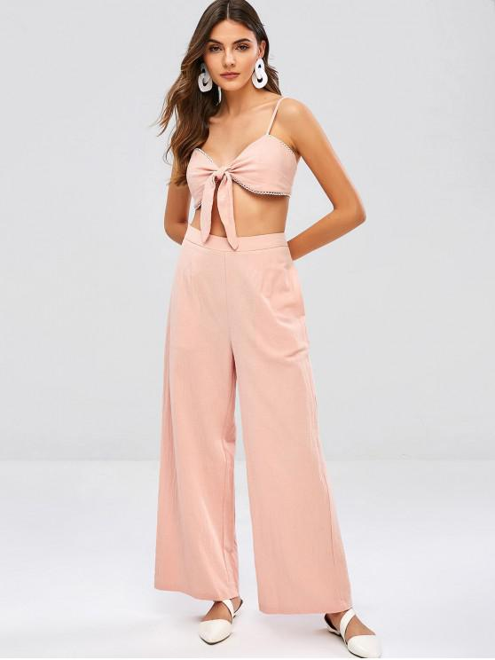 ladies ZAFUL Tied Wide Leg Pants Set - PINK M
