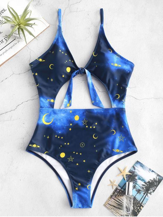 sale ZAFUL Moon Star Tied Monokini Swimsuit - BLUE M