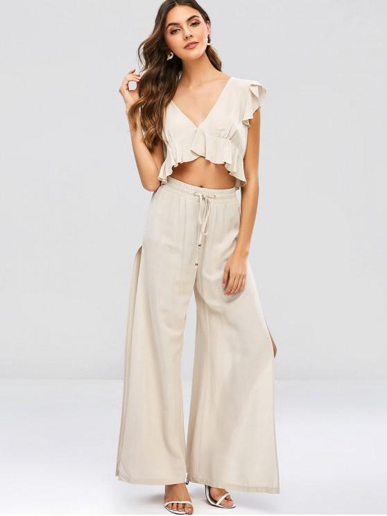 ladies ZAFUL Ruffles Cropped Top And Slit Pants Set - BEIGE L