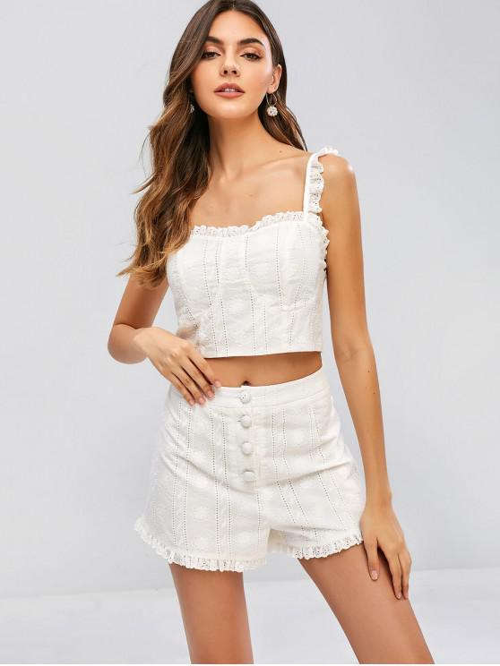 outfits ZAFUL Embroidered Zip Top and Shorts Set - WHITE L