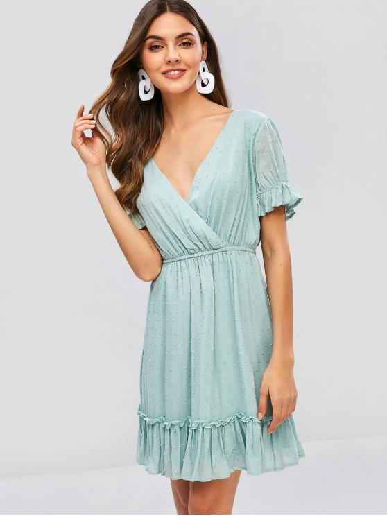 lady ZAFUL V Neck Ruffles Surplice Dress - PALE BLUE LILY L