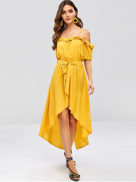 trendy ZAFUL Ruffles Belted Asymmetric Cami Dress - BEE YELLOW L