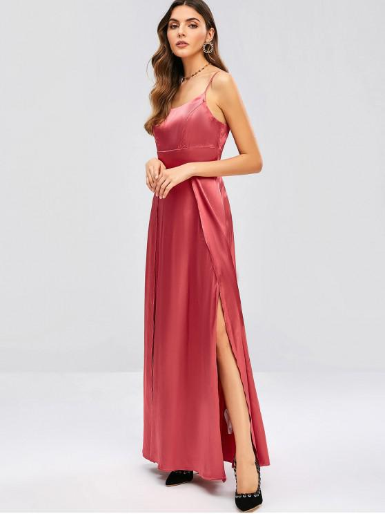 784403c6fae34b ZAFUL Maxi Robe à Bretelle Fendue en Satin