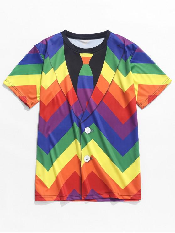 trendy Colorful Geometric Faux Blazer Print T-shirt - MULTI L