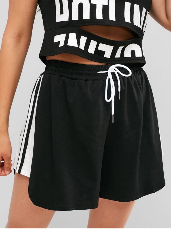 ladies Striped Drawstring Wide Leg Shorts - BLACK XL