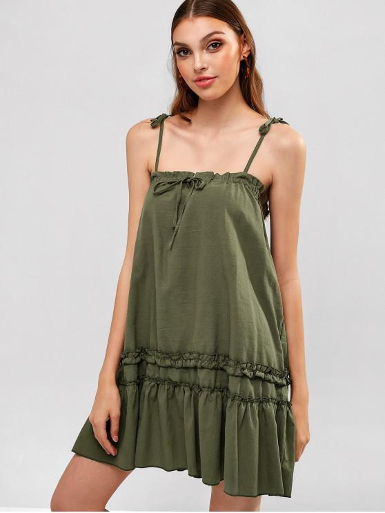 online Tied Straps Ruffles Straight Dress - GREEN M