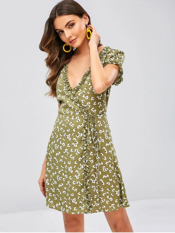 outfit ZAFUL Floral Print Ruffles Wrap Dress - HAZEL GREEN L