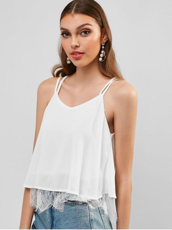affordable Strappy Chiffon Lace Trim Top - WARM WHITE L