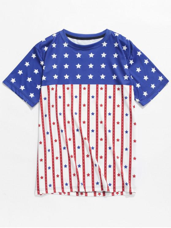 outfits American Flag Dots Print Short Sleeves T-shirt - MULTI S