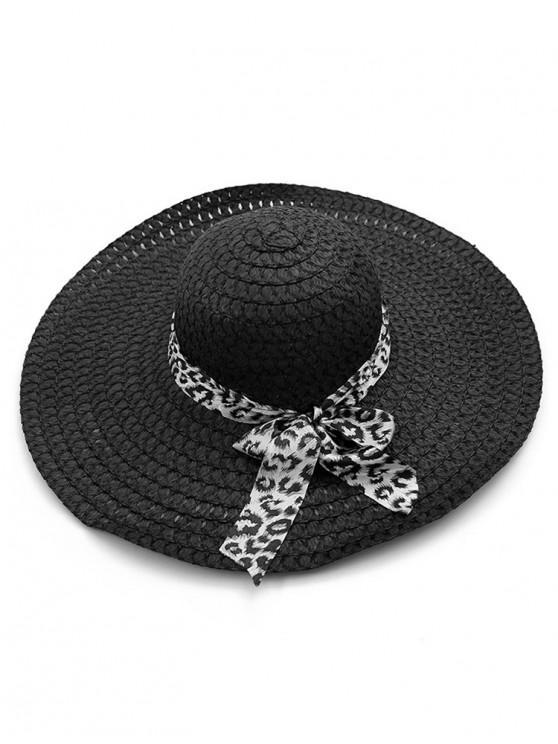 latest Beach Style Bowknot Straw Hat - BLACK