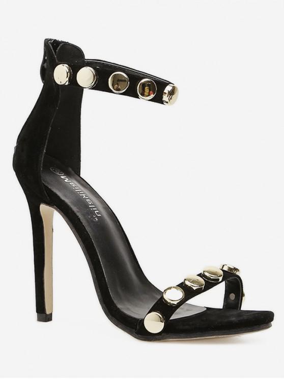Round Studded High Heel Sandals BLACK
