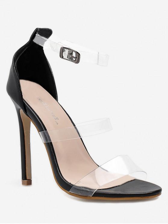 chic Clear Strap Stiletto High Heel Sandals - BLACK EU 40