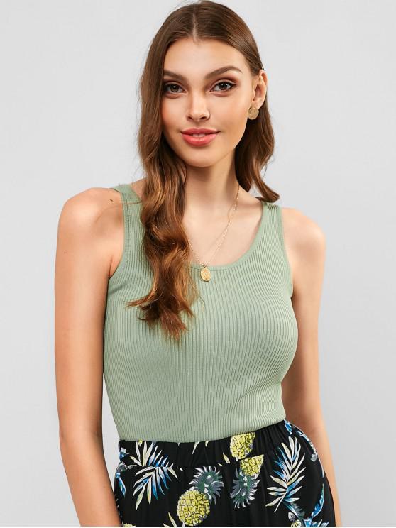 Camiseta sin mangas de punto acanalado sólido - Verde Oscuro de Mar Talla única