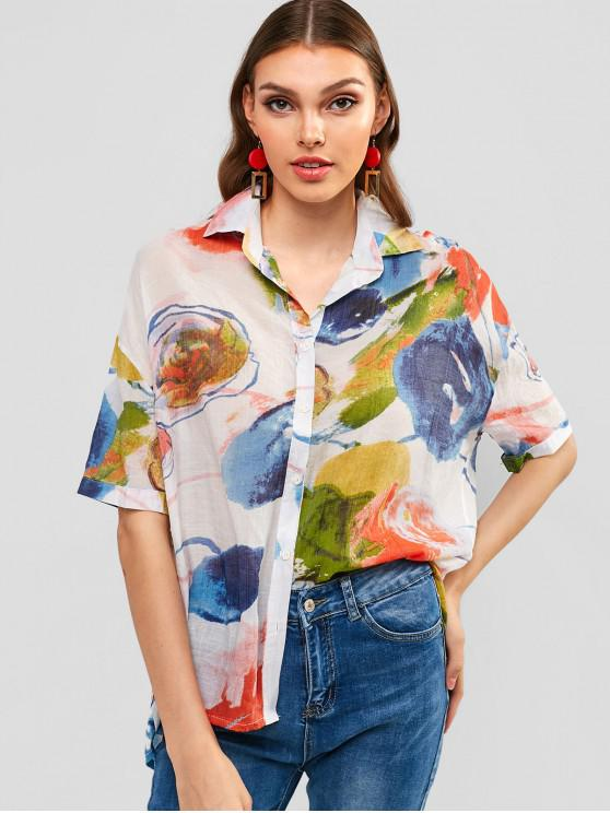 ladies Colored Oversized Shirt - MULTI L