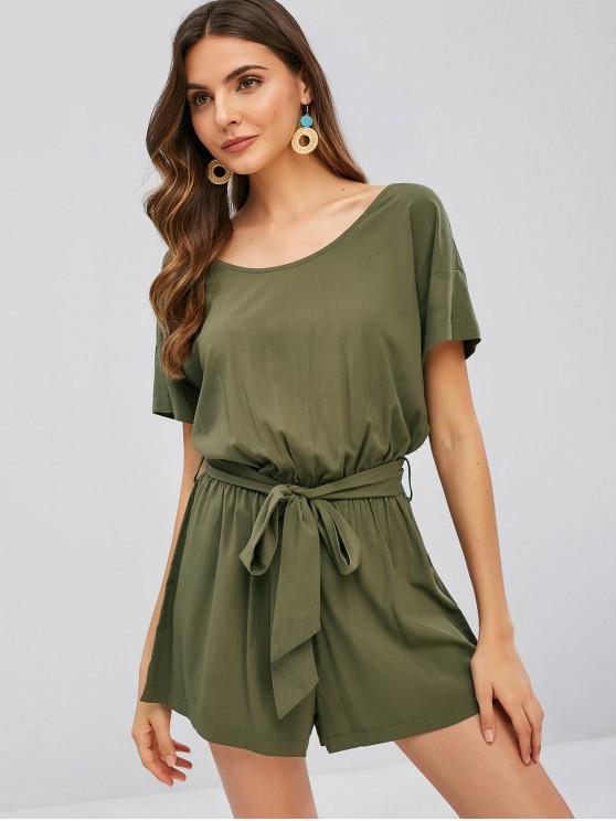 buy ZAFUL Solid Short Sleeve Belted Romper - ARMY GREEN M