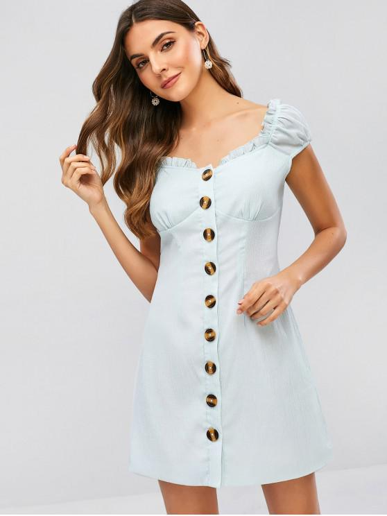 best ZAFUL Frilled Button Up Short Dress - CORAL BLUE L
