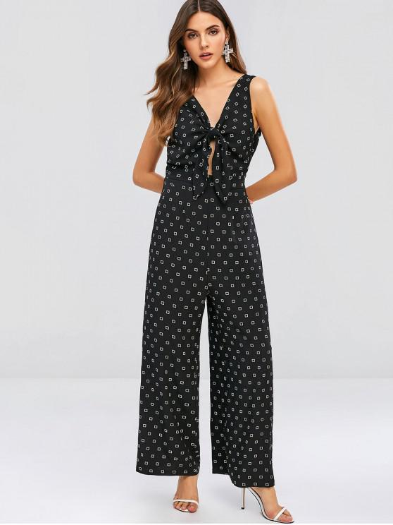 unique ZAFUL Geometric Tied Plunging Wide Leg Jumpsuit - BLACK M