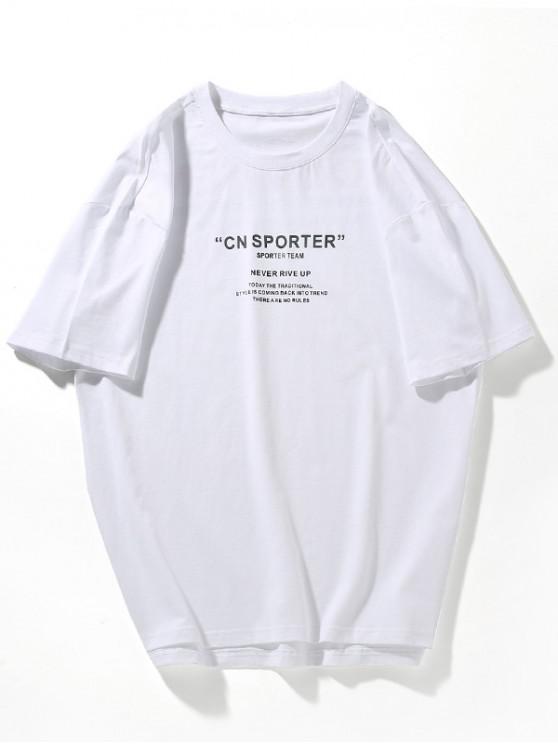 Camiseta con impresión de letras con abertura lateral asimétrica - Blanco 3XL