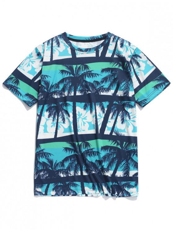best Coconut Palm Floral Print Casual Beach T-shirt - GREENISH BLUE XL