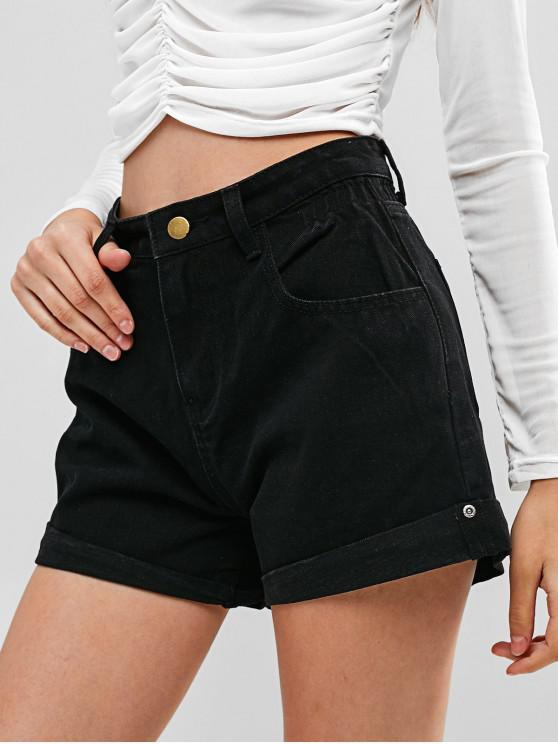 women's High Waisted Denim Cuffed Shorts - BLACK XL
