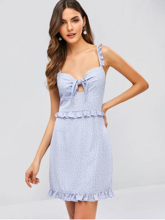 best ZAFUL Speckle Tied Ruffle Criss Cross Dress - PASTEL BLUE S