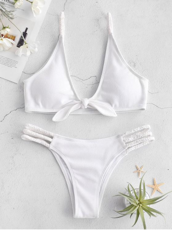 sale ZAFUL Ribbed Braided Tied Bikini Set - WHITE S