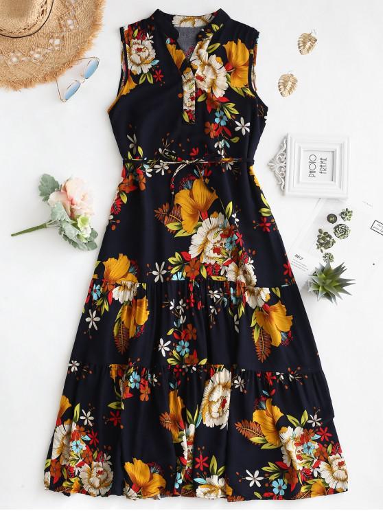 women Floral Print Belted Sleeveless Dress - GOLDENROD XL