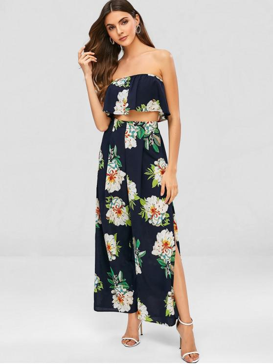 affordable Floral Bandeau Top and Split Pants - MIDNIGHT BLUE S